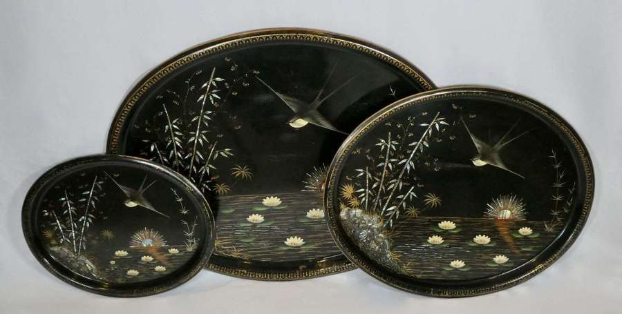Set of 3 19th century tole trays