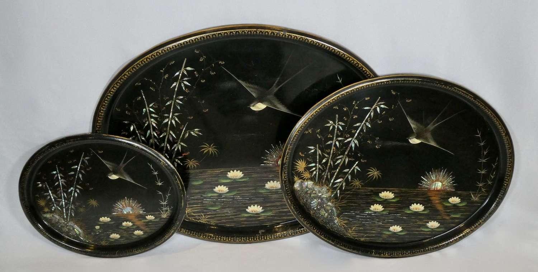 Set of 3 19th century tole trays