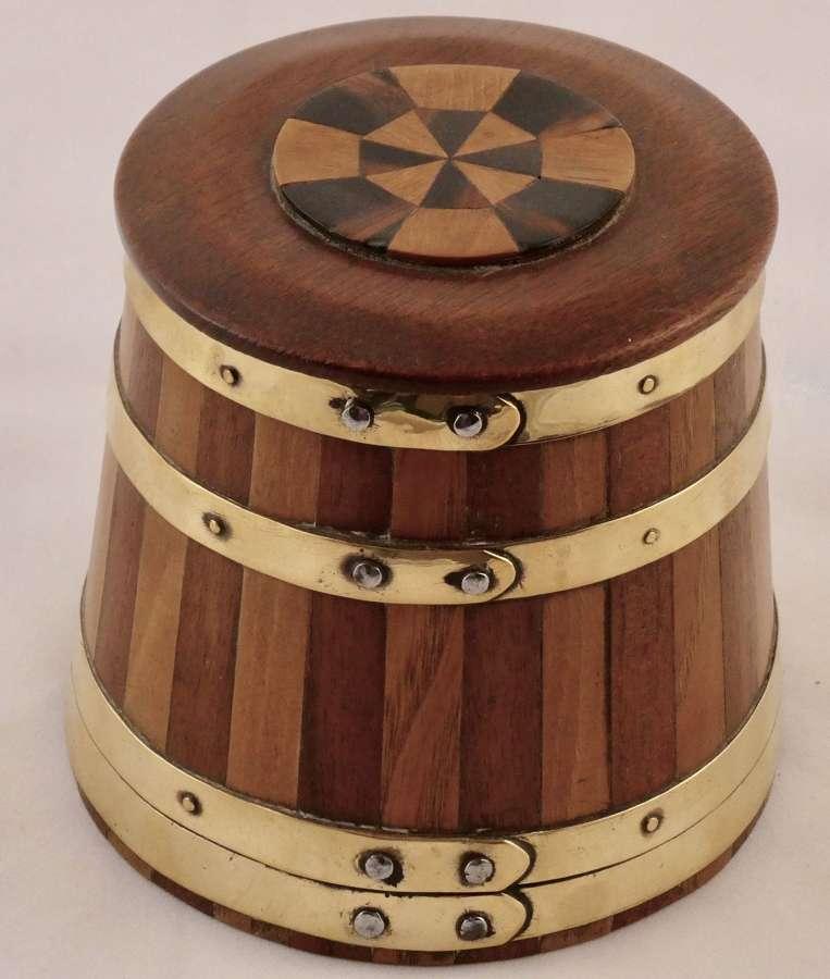 19th century coopered tobacco jar