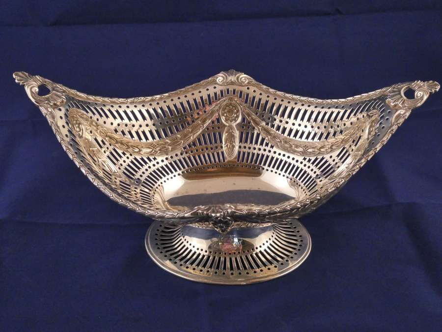 Late 19th century silver fruit basket