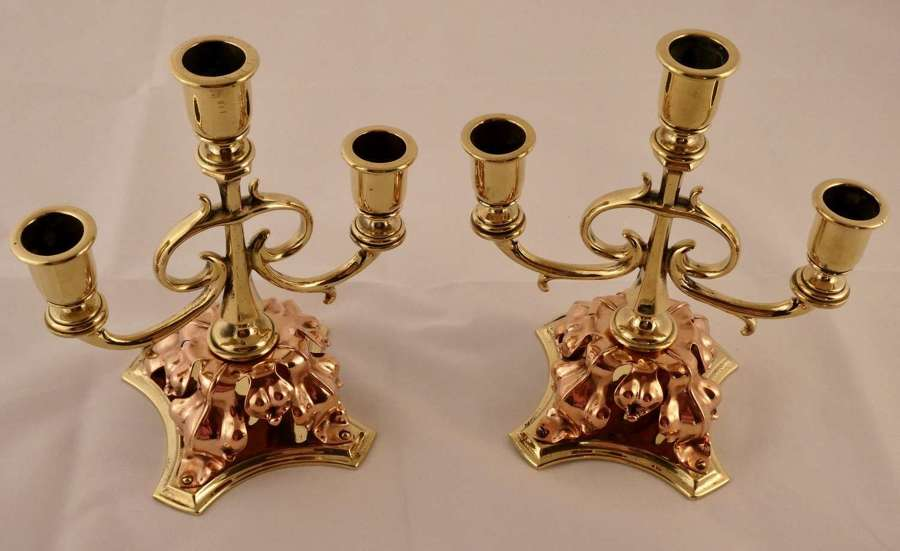 Pair of Arts & Crafts candelabra