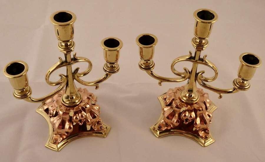 Pair of Arts & Crafts candelabra