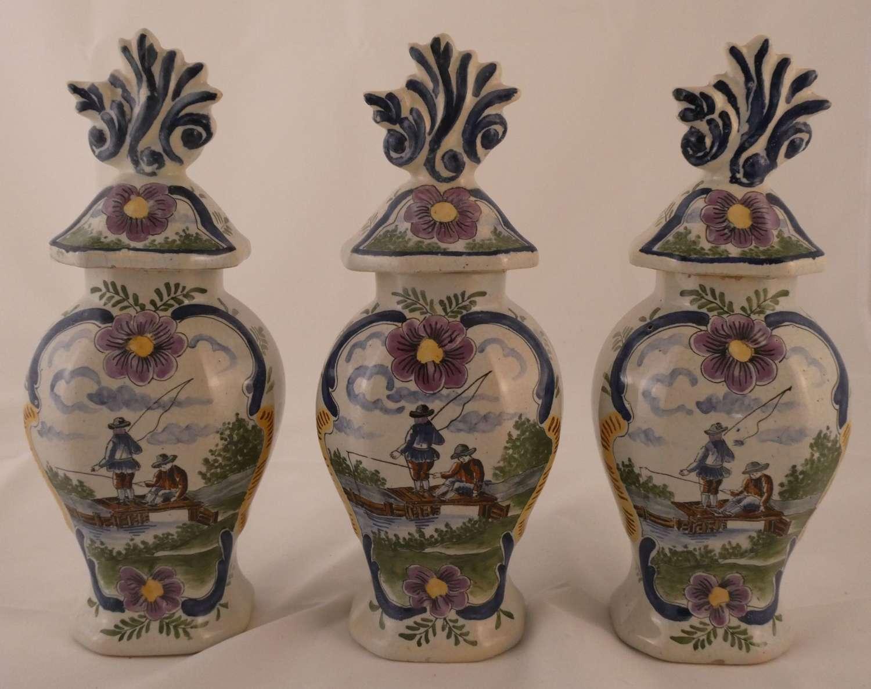 Garniture of Delft Vases