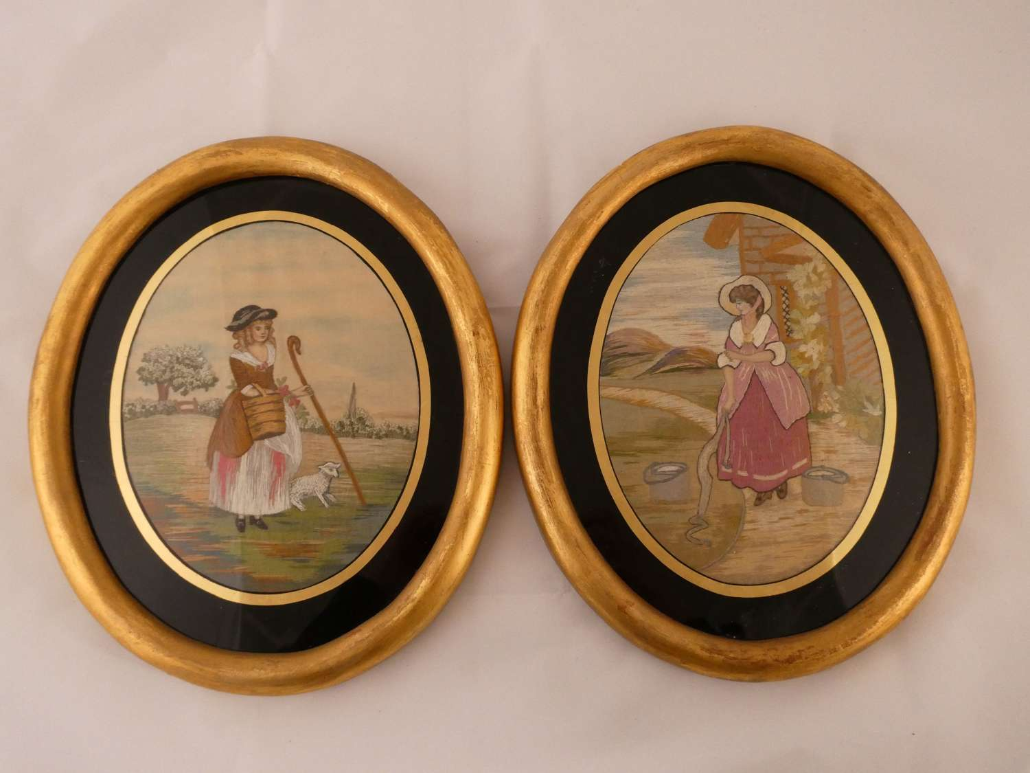 Pair of Silkwork Embroideries