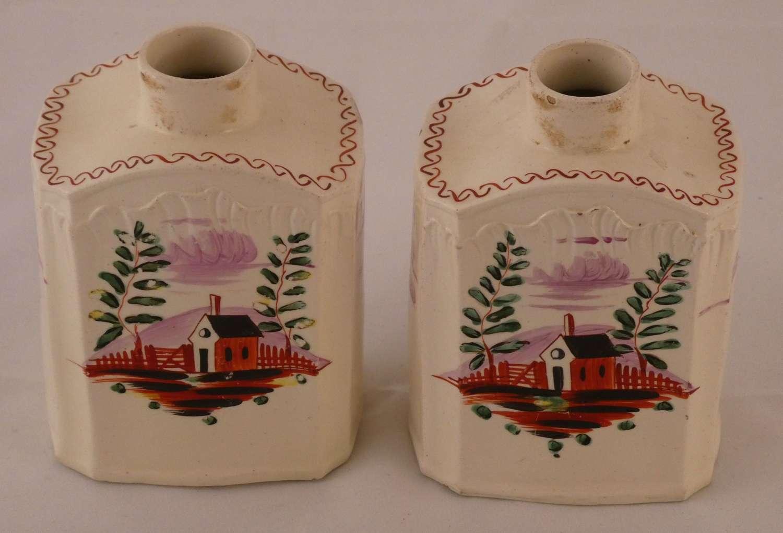 Pair of Creamware Tea Caddies