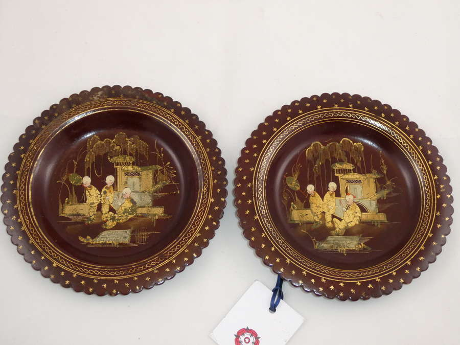 Pair of 19th Century Lacquered Coasters