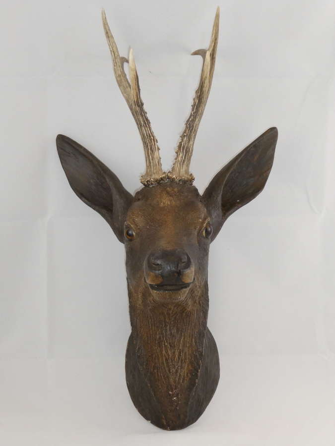 19th Century Carved Wooden Deer's Head