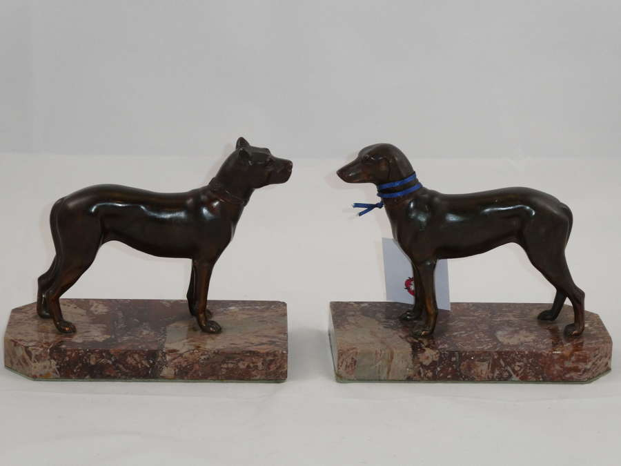 Pair of Spelter Dog Book Ends
