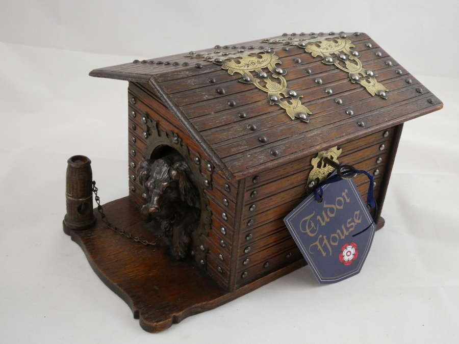 French Cigar Box in the Form of Dog in Kennel
