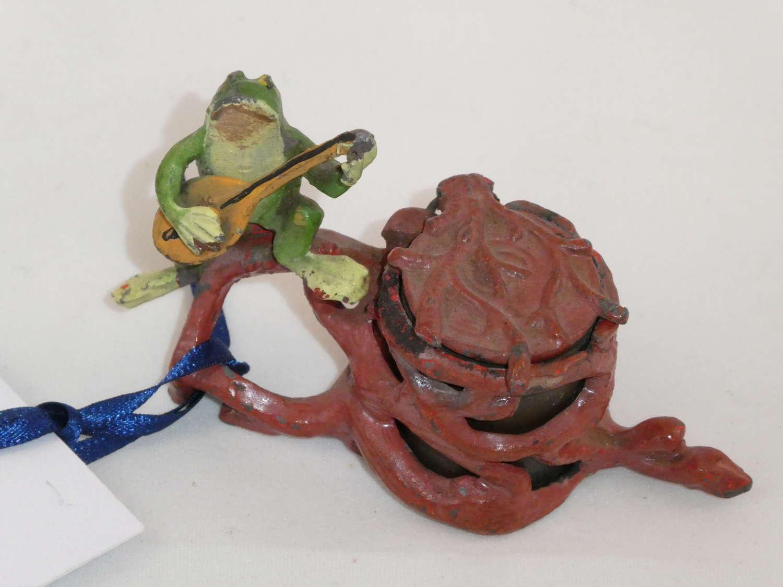 Spelter Frog Inkwell