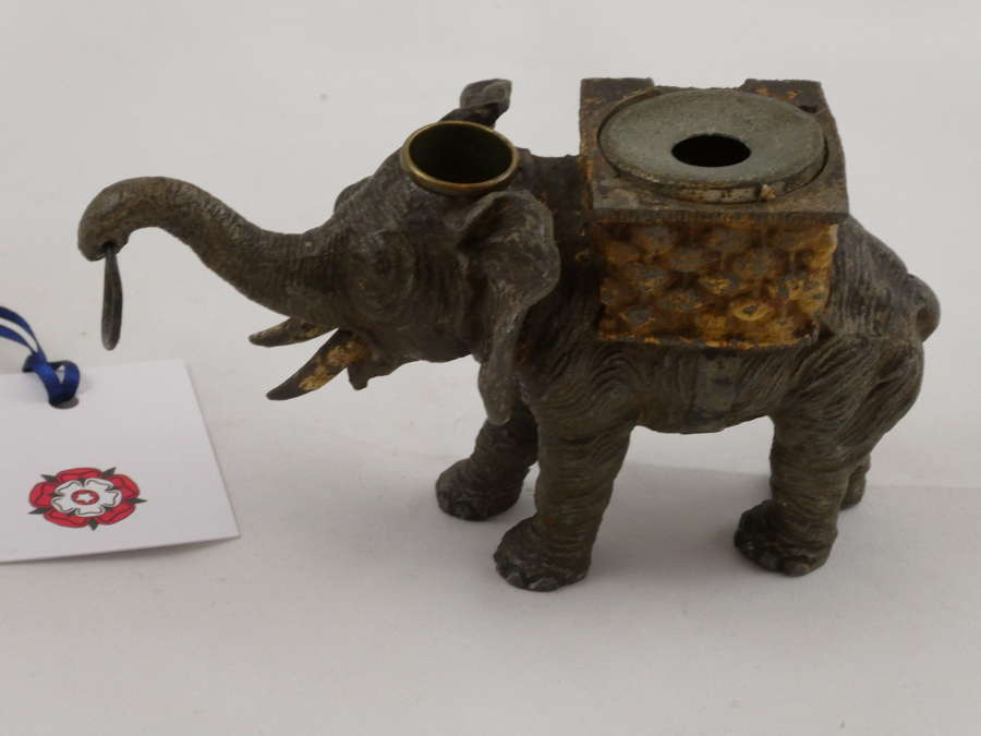 Spelter Elephant Inkwell