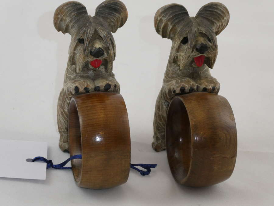 Pair of Carved Dog Napkin Rings