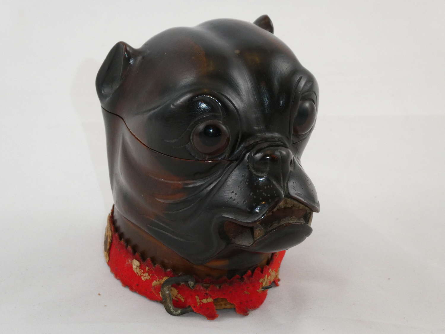 Carved Dog Inkwell
