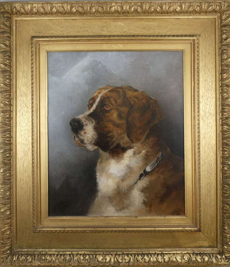 Oil Painting of a St Bernard Dog
