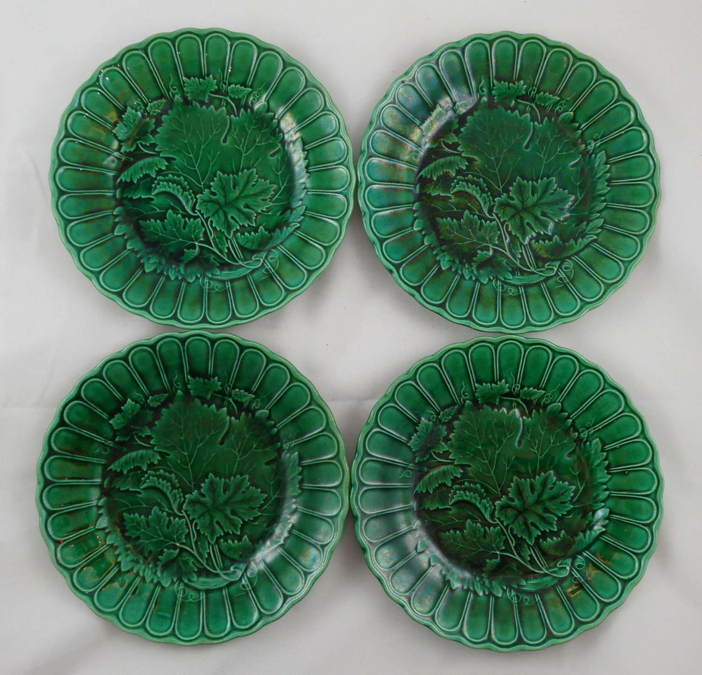 Four majolica Plates