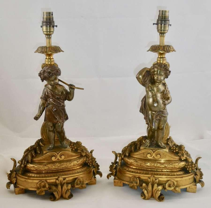 Pair of 19th Century Gilt Bronze Lamps