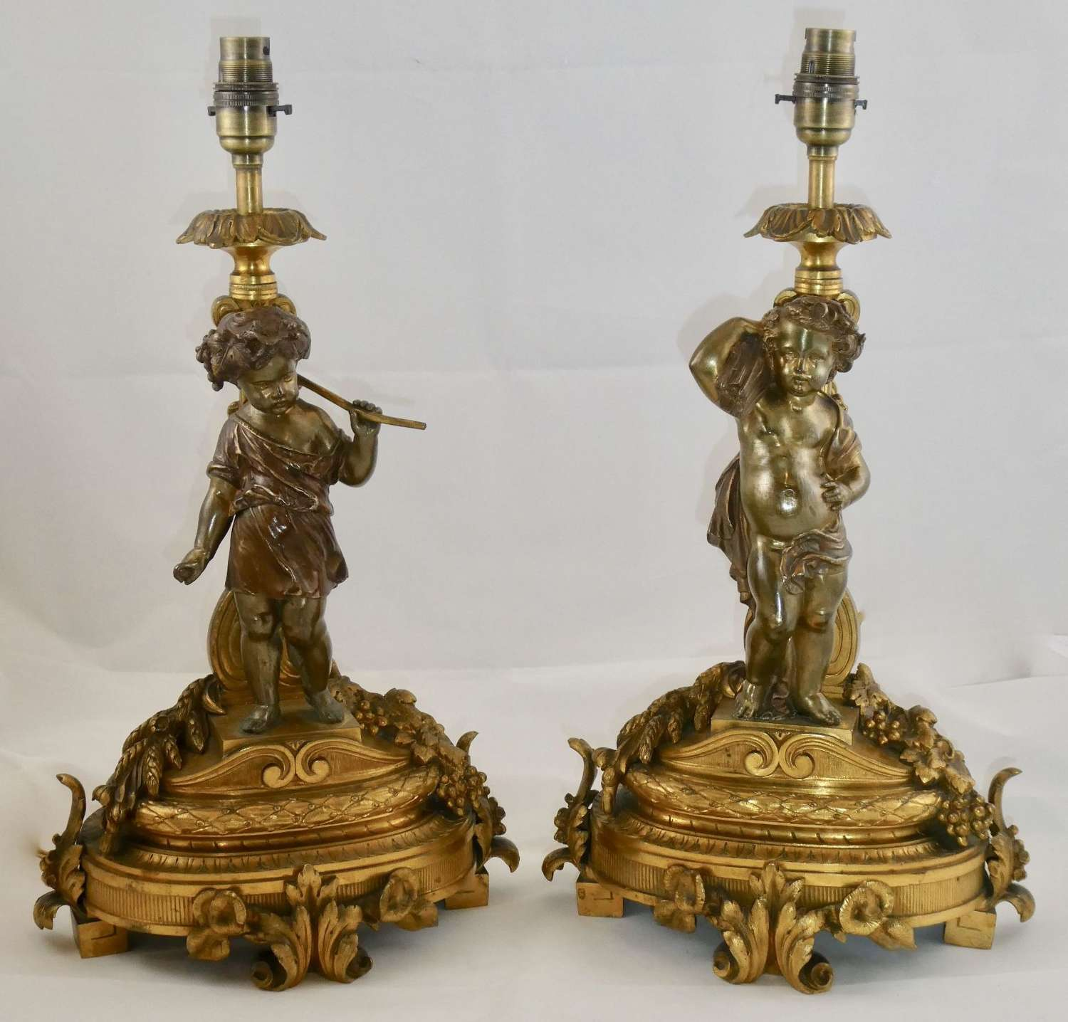 Pair of 19th Century Gilt Bronze Lamps