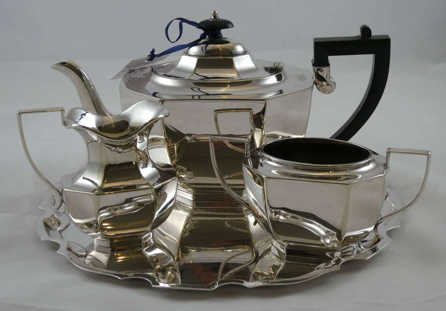 Three Piece Tea Set on Tray