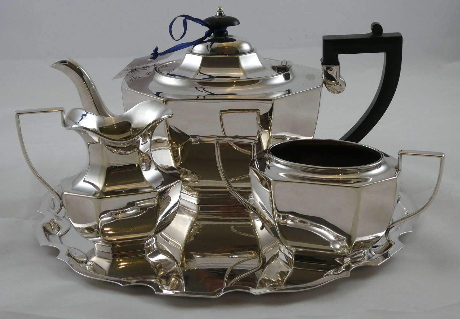 Three Piece Tea Set on Tray