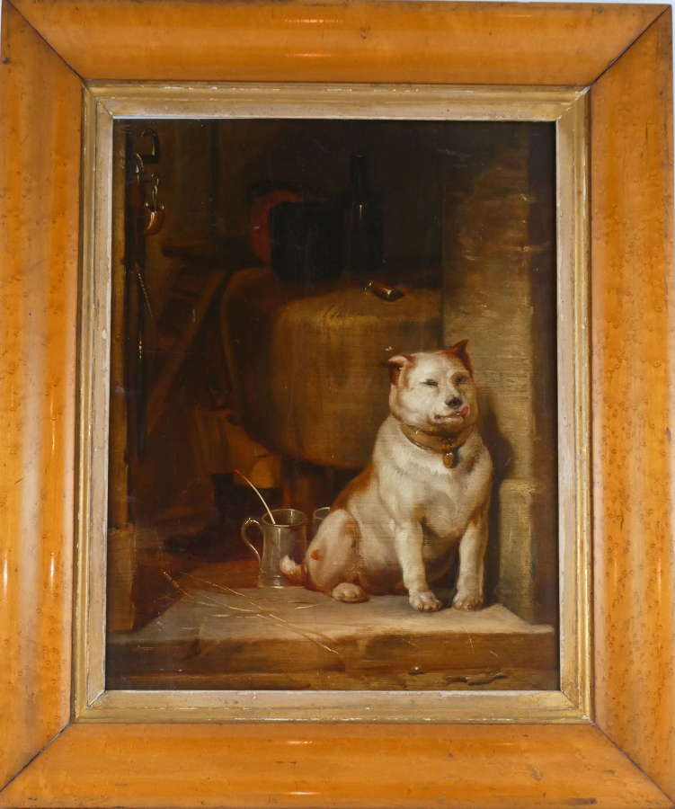 19th Century Oil Painting of a Dog