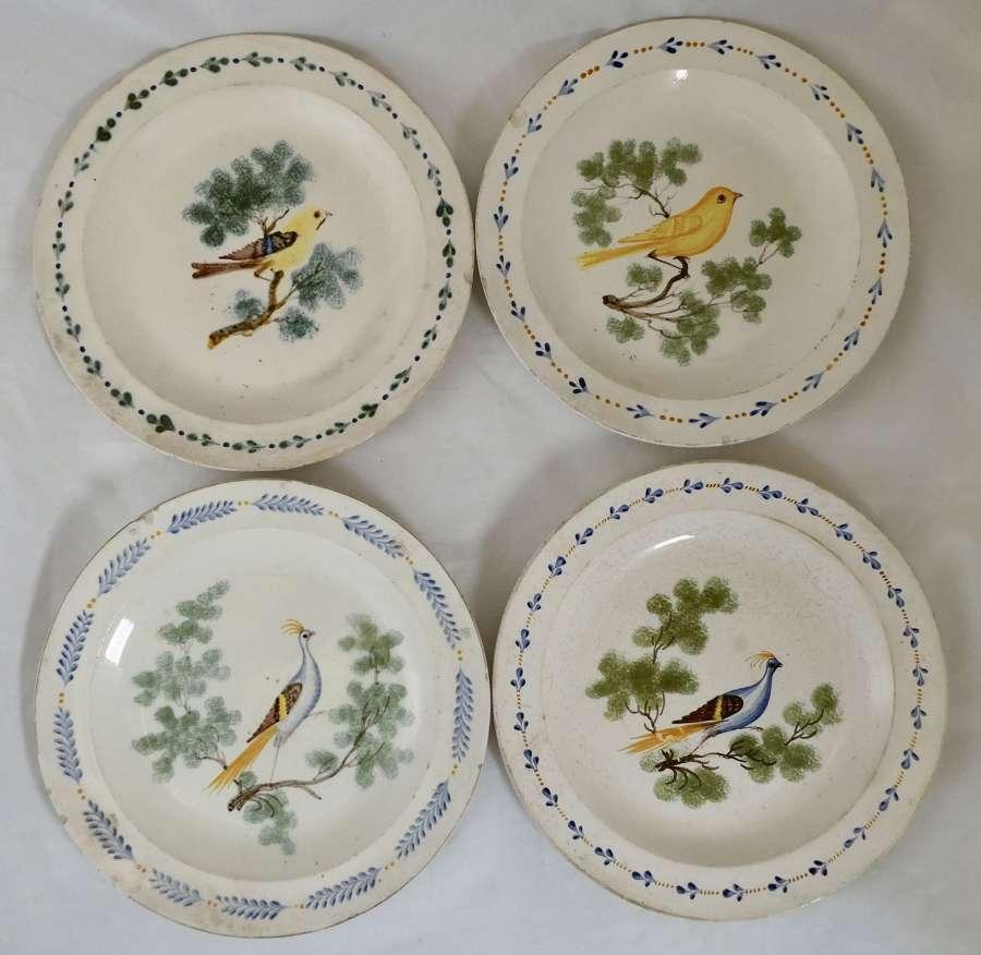 Set of Four Creamware Plates