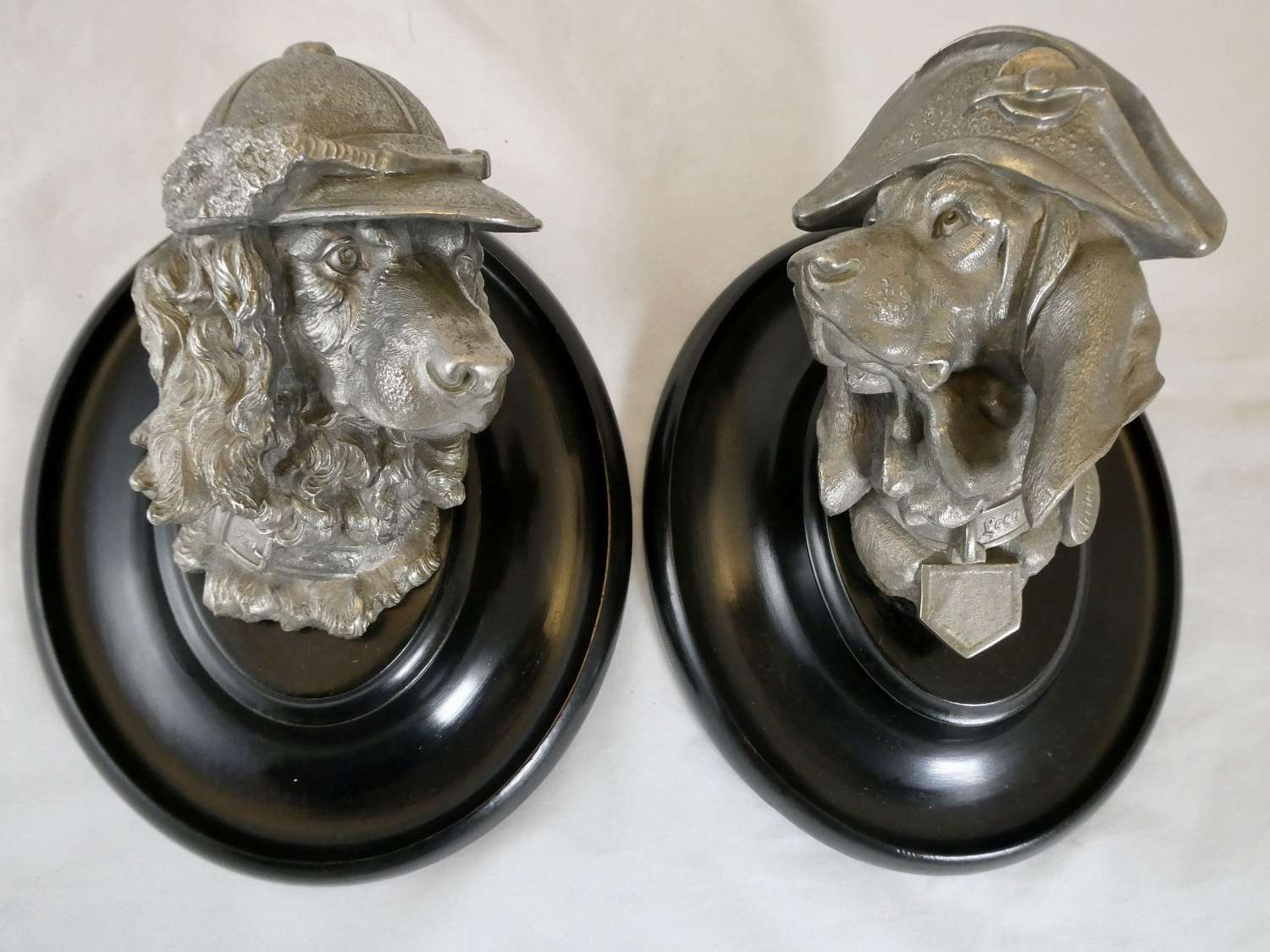 Pair of Cast Metal Dog's Heads