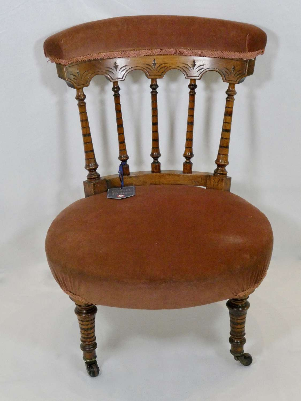 Victorian Walnut Low Chair