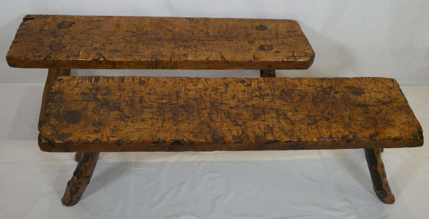 Two Rustic Pine Benches