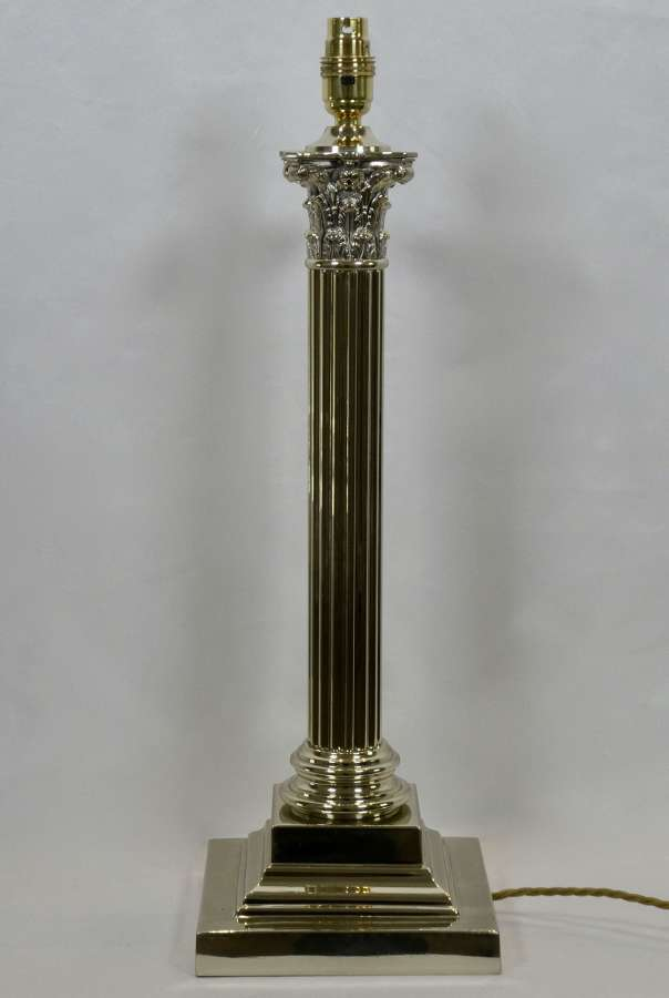 19th Century Nickel Column Lamp