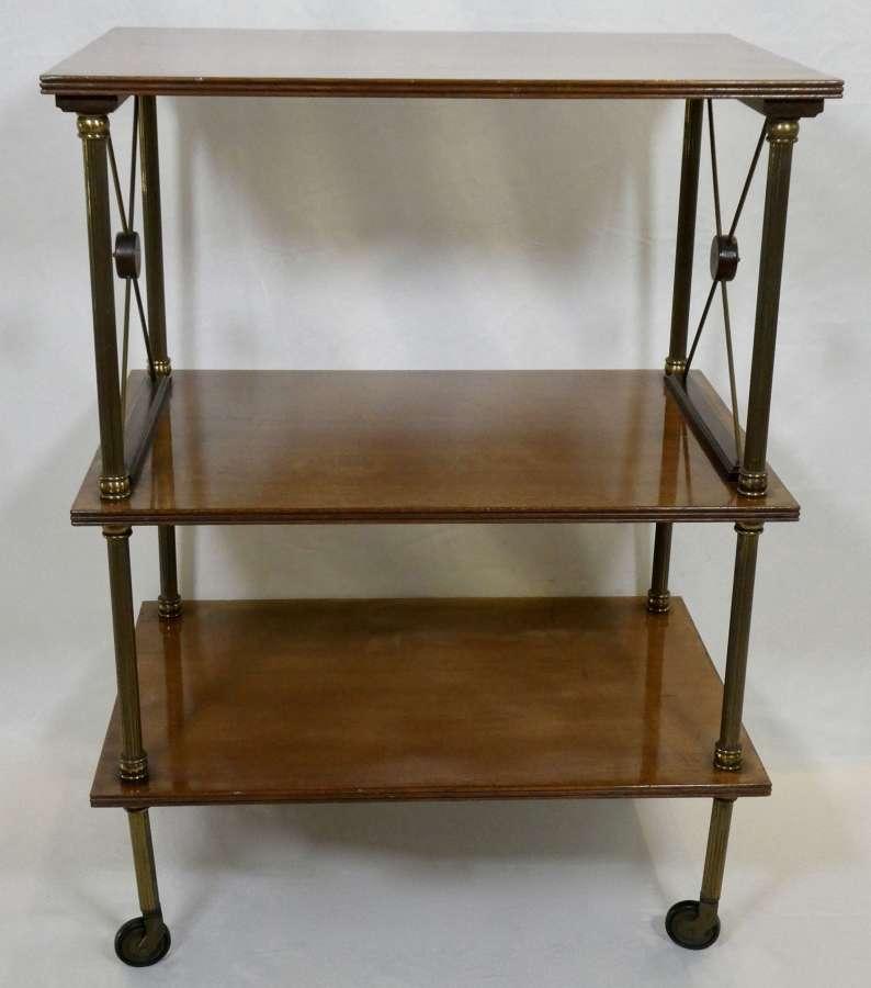 Mahogany and Brass Table on Castors