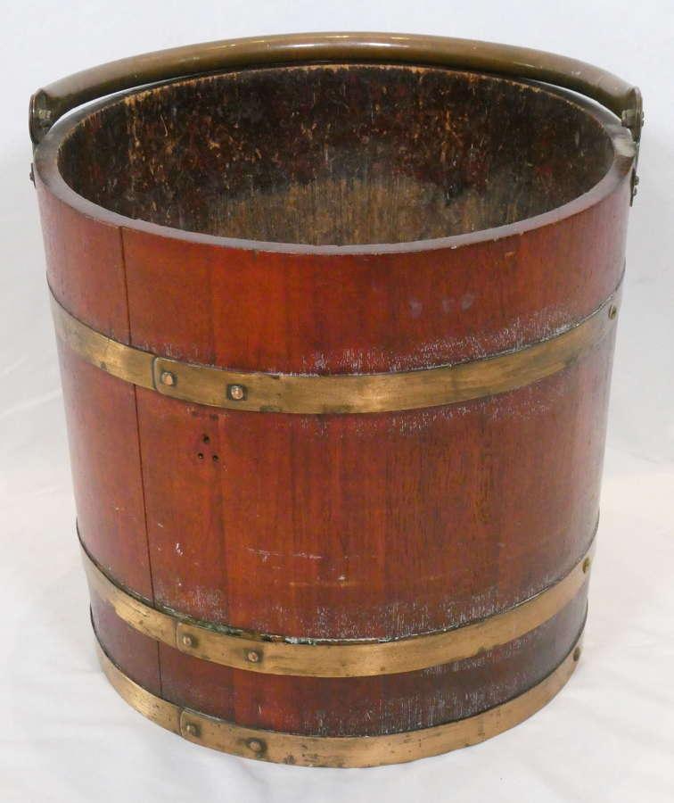 Large Early 20th Century Wooden Bucket or Log Bin