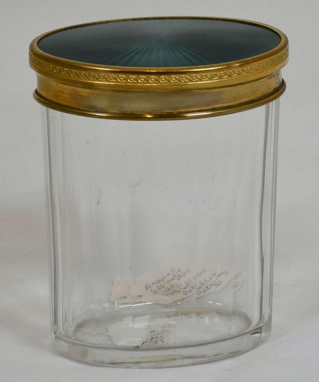 Cut Glass Jar with Enamelled Lid