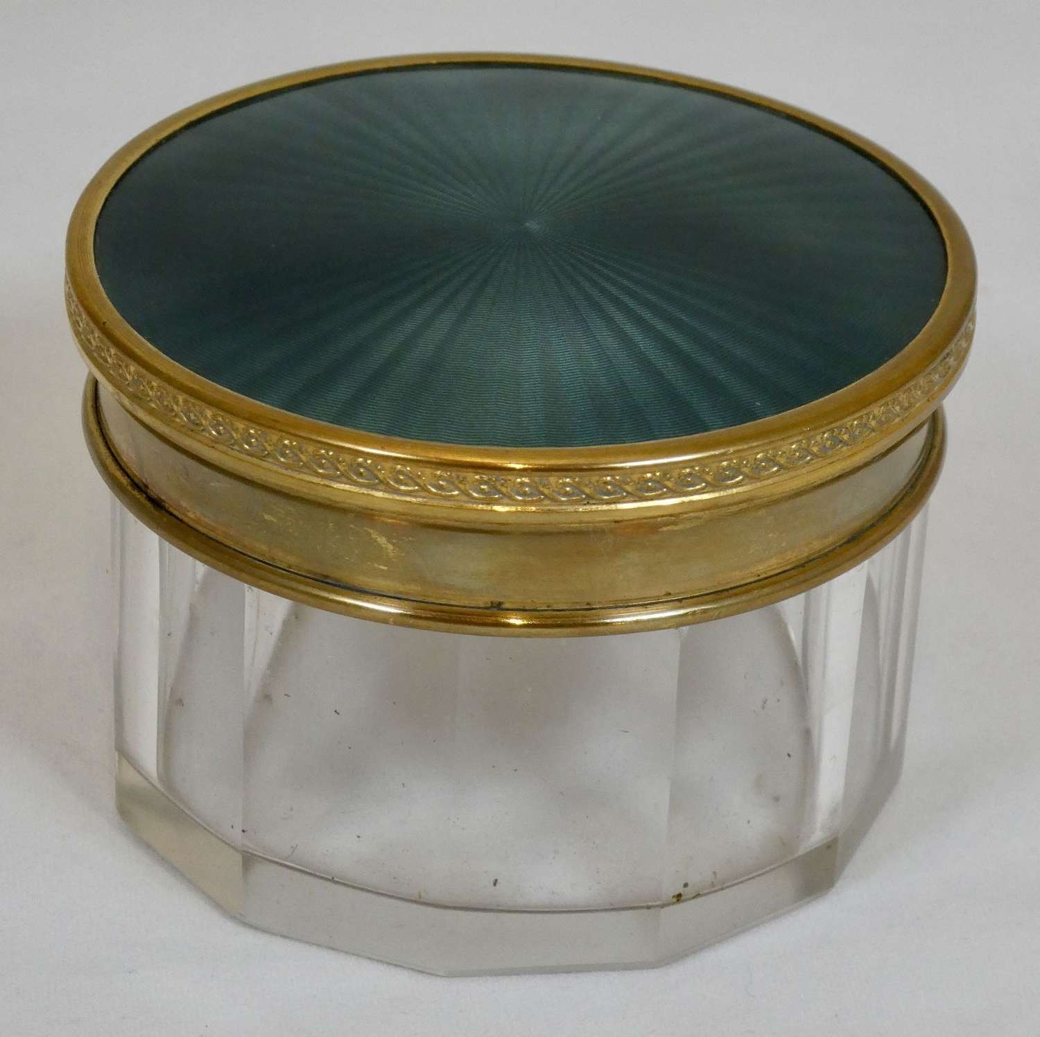 Cut Glass Pot with Enamelled Lid