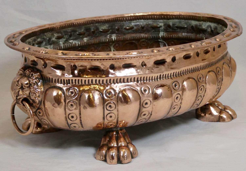 19th century Italian Oval Copper Jardinière
