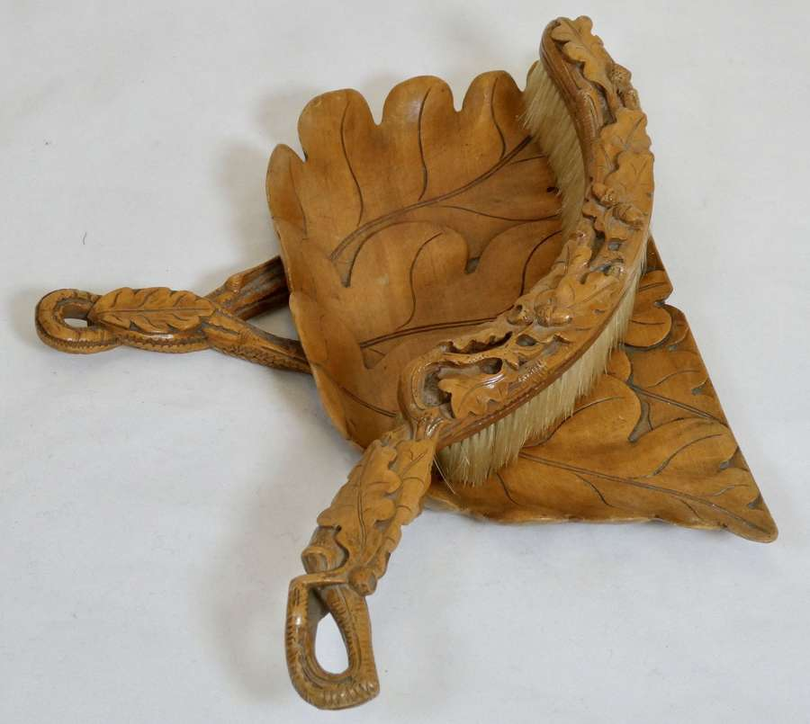 19th Century Carved Wood Crumb Tray and Brush