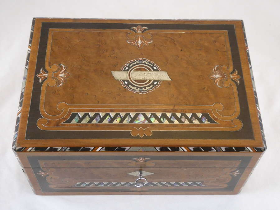 Inlaid Walnut Sewing Box, 1886