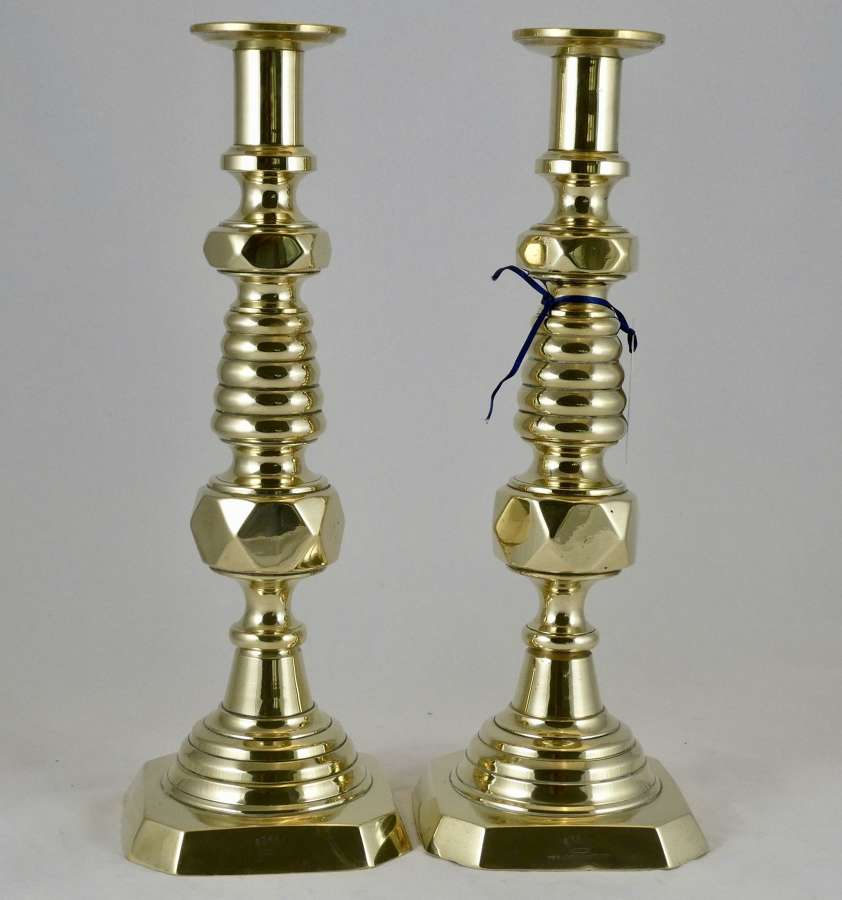 Large Pair of Brass Coronation Candlesticks 1911