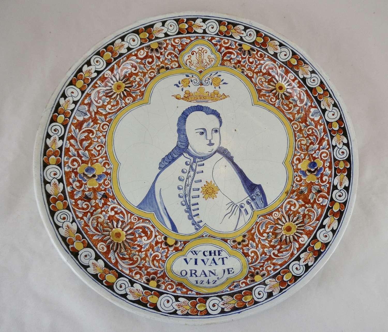19th Century Commemorative Charger, William of Orange