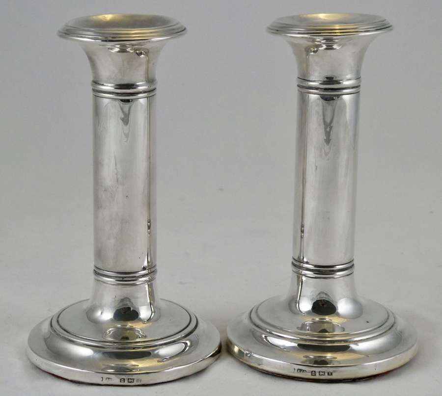 Pair of Edwardian Tuscan Column Silver Candlesticks