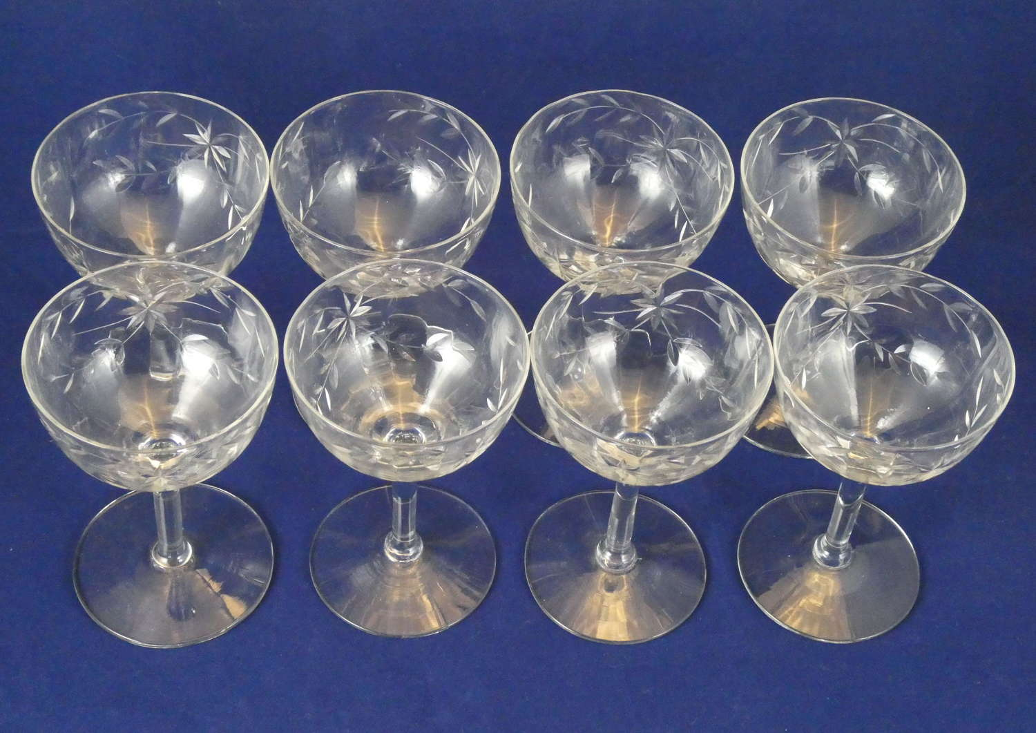 Eight 1930s Cocktail Glasses
