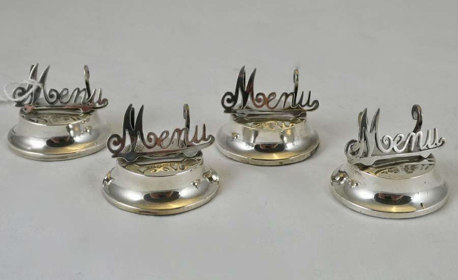 Set of 4 Silver Menu Holders