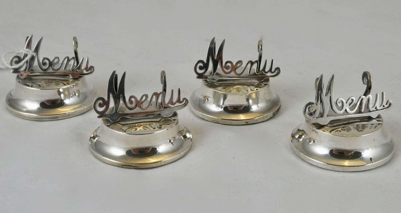 Set of 4 Silver Menu Holders