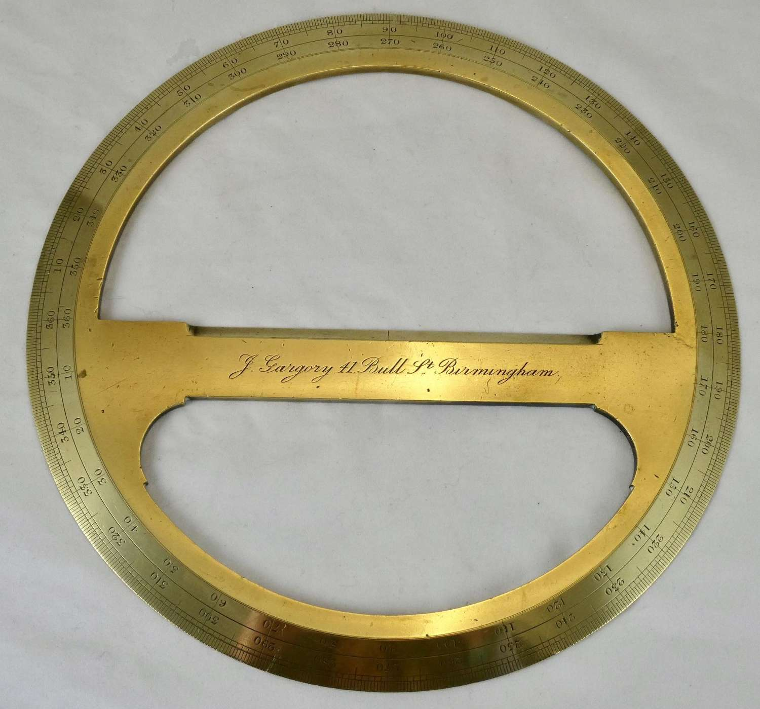 Mid 19th Century Full Circle Brass Protractor
