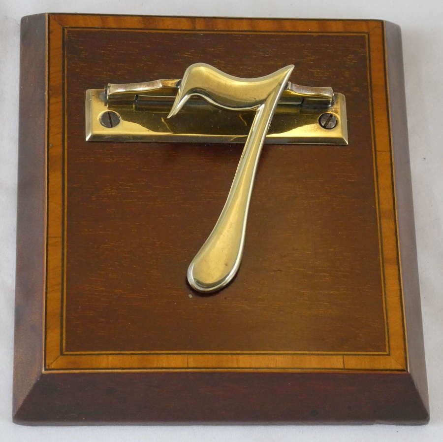 Edwardian Inlaid Mahogany and Brass No. 7 Letter Clip