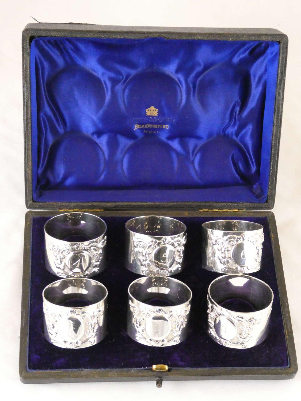 Boxed Set of Six Hallmarked Napkin Rings