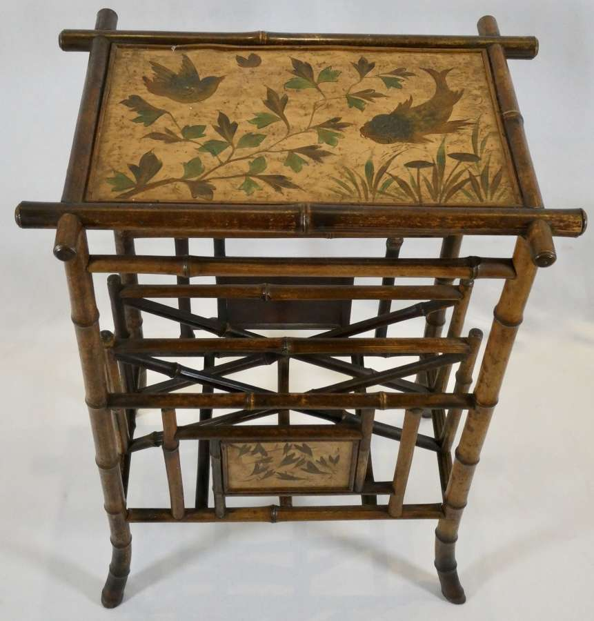 Late 19th Century Bamboo Canterbury with Lacquered Panel