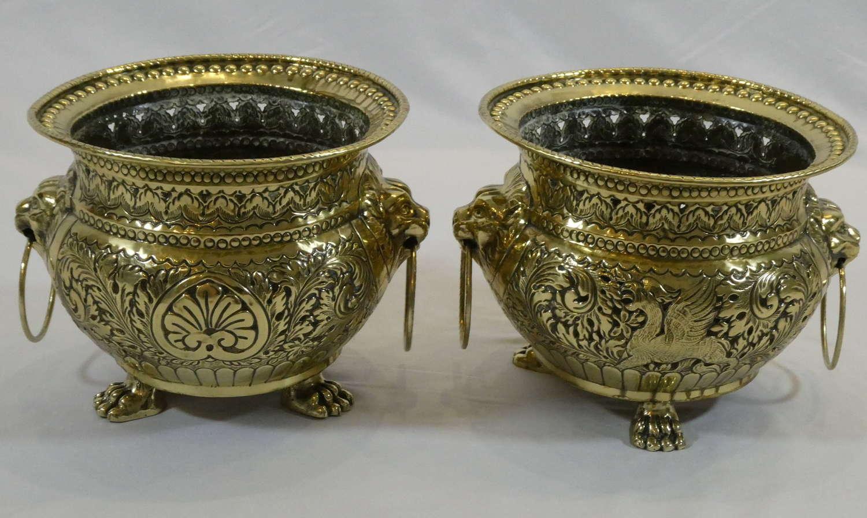Pair of 19th Century Flemish Brass Jardinières