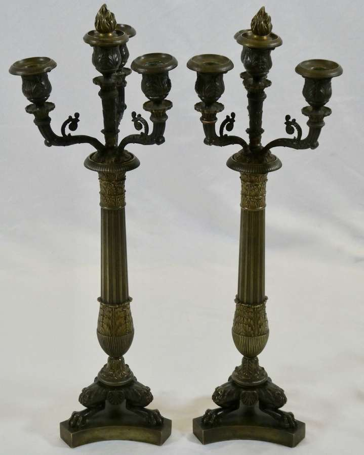 Pair of 19th Century French Bronze Candelabra