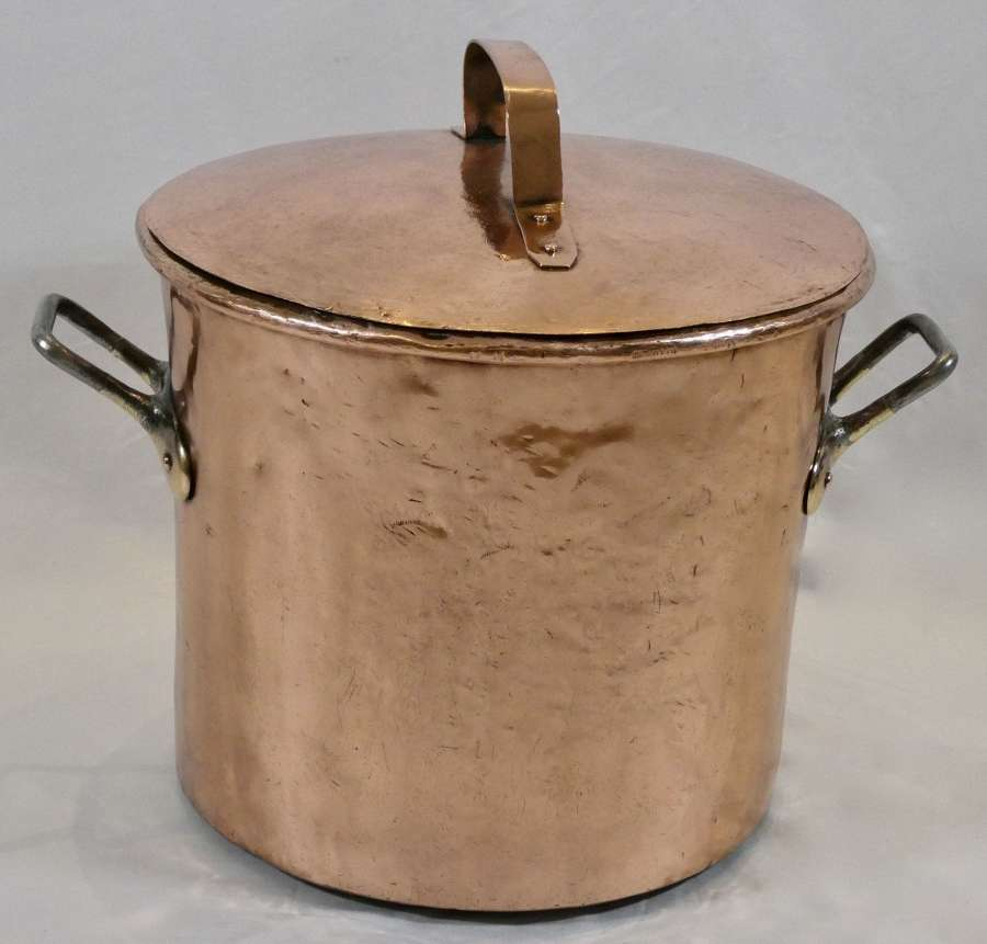 Large 19th Century Copper Stock Pot