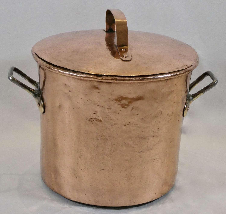Large 19th Century Copper Stock Pot